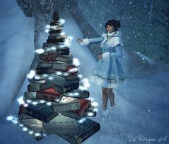 LOTD 279 (Kat Feldragonne) Tags: secondlife virtual avatar books tree winter christmas lights snow elusive rebelhope anachron truth