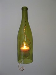 Hanging Wine Bottle Candles (irecyclart) Tags: light glass lamp bottle candle wine hanging