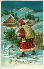 Antique Christmas Postcard - Santa Claus brings a Tree (Brynn Thorssen) Tags: santa christmas xmas red holiday snow mountains alps tree green pine vintage gold antique christmastree holly evergreen postcards yule fatherchristmas santaclaus merrychristmas skilodge santaklaus happynewyear happychristmas yuletide oldsaintnick