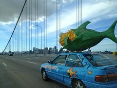 stock   Vote YES PROP 37, Label GMO Foods Car with Corn Fish Sculpture IMG_9408 (Lynn Friedman) Tags: attribution baybridge car corn fish gmo humor lynnfriedman politics prop37 published sanfrancisco skyline stock yesmagazine yesmagazineorg fav
