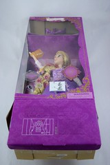 2015 Rapunzel Deluxe Feature Singing 16'' Doll - Disney Store Purchase - Deboxing - Lying Down - Detaching the Try Me Button - Full Low Angle Front View (drj1828) Tags: us singing lit rapunzel purchase feature disneystore tangled 16inch deboxing