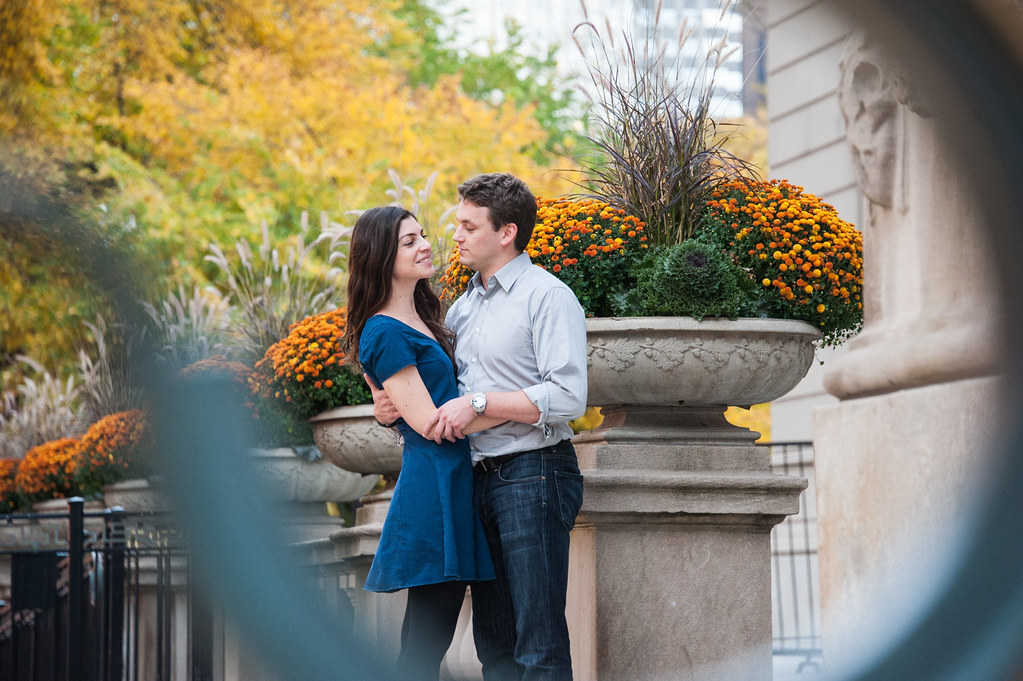 Bryan and Ionit's engagement in downtown Chicago.