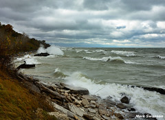 The Gales of Late October (mswan777) Tags: autumn sky lake seascape storm fall nature water clouds outdoors nikon rocks waves michigan great shoreline lakes sigma spray 1020mm breakwall d5100