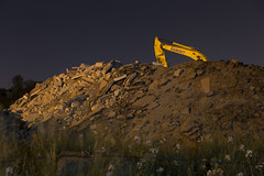 (Dr Magnus) Tags: grass night river mississippi concrete construction time debris working demolition business dirt pile care recycle recycling takin crusher overtime