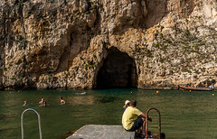 Cave at the Azure Window (swordscookie) Tags: sea sun swimming boats divers rocks mediterranean waves arch exploring scuba diving malta lagoon huts ribs cave swell skinnydipping gozo seacave azurewindow selfies