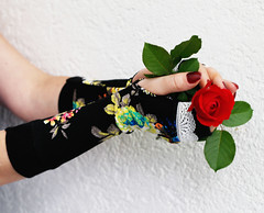 Black Flower Fingerless gloves with white lace (anuchka2010) Tags: gloves warmgloves blackgloves romantic roses red rose flowers floral accessories lace blackandwhite giftforher giftideas christmasgift fashion