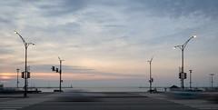 Lake Shore Drive (urbsinhorto1837) Tags: chicago lakemichigan lakeshoredrive burnhamharbor cars streetlight light sky dawn sunrise blue water road