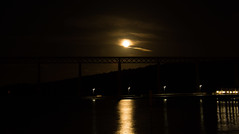 Moonrise over the Forth Rail Bridge #3 (Claire Stones) Tags: southqueensferry forthrailwaybridge october scotland huntersmoon reflection fullmoon moon firthofforth forthrailbridge nikon forth