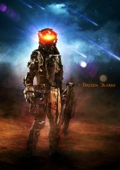 The Soldier (~Brenda-Starr~) Tags: allrightsreserved scifi soldier space smoke weapon gun flares october2016 comets