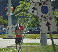 blue belt beggar (Hi-Fi Fotos) Tags: blue belt road sign pittsburgh mckeesrocks brightonheights intersection traffic homeless beggar drug addict opioid epidemic arrow person nikon d5000 sigma 18250mm hififotos hallewell
