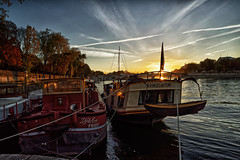 River Seine's boats (marko.erman) Tags: river seine paris france sony sun sunrise morning boats ships promenade travel outside popular light beautiful sky banks city wide angle pov uwa