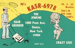 Hair Grinder & Crazy Legs - Elmira, New York (73sand88s by Cardboard America) Tags: qsl qslcard cbradio cb vintage mower barber woman newyork