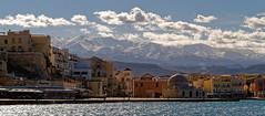 Snow-capped White Mountains (Lefka Ori) (john houv) Tags: chania crete mediterranean oldharbour oldharbor lighthouse reflection snowcapped