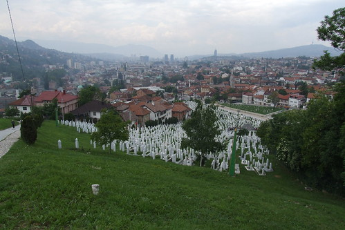 View over Sarajevo with Martyrs' Memorial Cemetery Kovači in front, 27.05.2012.