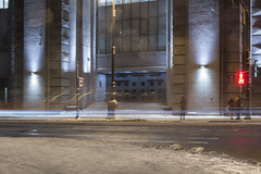 waiting (Marcus Verte) Tags: landscape light look lamp theatre road city car people long exposure night snow dirty enter side outdoor street women windows asphalt wait time place stop traffic sign line saint petersburg russia conversation                 white world winter  walking walk