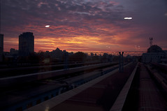 Towards the dawn (Alexander Oleynik) Tags: dawn railway autumn dusk station train