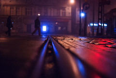 haven (ewitsoe) Tags: memory street ewitsoe lowdof lines morning dark nikght rain wet city poznan poland people walking lights rails red glow urban nikon d80 neon man woman cobblestones