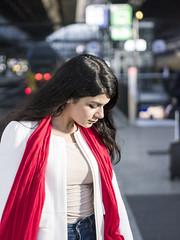 Nathalie, Amsterdam 2016: Pensive on the platform (mdiepraam (35 mln views)) Tags: nathalie amsterdam 2016 centraal station platform portrait pretty beautiful elegant dutch brunette girl naturalglamour scarf bokeh