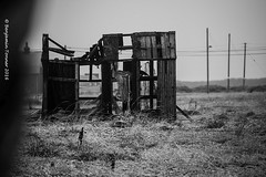 L U R K I N G (frattonparker) Tags: nikond600 tamron28300mm raw lightroom6 monochrome frattonparker btonner dungeness shed hut telegraphpoles shingle lee rain