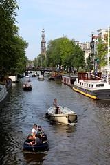 Amsterdamse gracht #1 (just.Luc) Tags: bridge trees houses tower water netherlands amsterdam boats bomen eau nederland boten arbres paysbas gracht westertoren bootjes