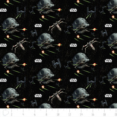 """(Camelot Cottons) Star Wars III, Spaceships In Black • <a style=""""font-size:0.8em;"""" href=""""http://www.flickr.com/photos/132535894@N06/20584877282/"""" target=""""_blank"""">View on Flickr</a>"""