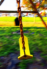 Swinging Around (Jae at Wits End) Tags: park wood plant tree green nature yellow metal america outside illinois woods rust midwest exterior outdoor rustic rusty reserve swing wear chain american oxidation weathered links panning corrosion corroded greenspace edwardsville