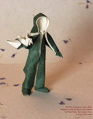 The Boy Papageno with a Bird (MrViolinPeter) Tags: bird origami flapping papageno paperman wetfolding papierfalten mrviolinpeter