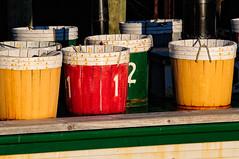 Barrels (craig_schenk) Tags: color colour colors colours red yellow green barrels boat maritime ship novascotia bold boldcolors canada numbers one two couleurs kleuren farger colori lunenburg abstract bright light