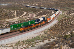 Typical Cajon Pass action (ycsfsoya) Tags: rail road railway choo railroad train track loco motive locomotive power unit diesel electric lashup freight consist row engine chooch transport california bnsf cajon pass silverwood es44ac stack subdivision
