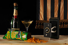 Still Life with Champagne and Chee Wees (Studio d'Xavier) Tags: camera stilllife champagne cheewees strobist