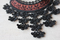 Beaded crochet statement necklace with sienna brown base and black beaded crocheted flower lace by irregularexpressions (irregular expressions) Tags: necklace embroidery jewelry wearableart fiberart textileart blacklace seedbeads beadednecklace beadcrochet freeformcrochet delicabeads crochetnecklace blacknecklace crochetlace beadedcrochet crochetart beadedlace irregularexpressions statementnecklace statementjewelry freeformcrochetnecklace beadedcrochetnecklace