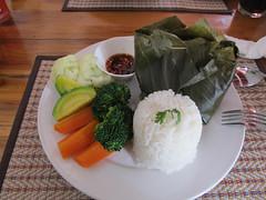 """Luang Prabang: Poisson cuit à la vapeur dans une feuille de bananier. <a style=""""margin-left:10px; font-size:0.8em;"""" href=""""http://www.flickr.com/photos/127723101@N04/23573585780/"""" target=""""_blank"""">@flickr</a>"""