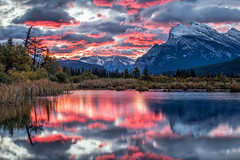Vermilion (Kirk Lougheed) Tags: autumn mountain lake canada fall water sunrise landscape dawn nationalpark outdoor canadian alberta banff mountrundle rundle banffnationalpark mtrundle canadianrockies vermilionlake