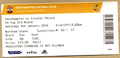 Southampton v Crystal Palace ticket (FA Cup  2016) (The Wright Archive) Tags: uk cup st football crystal stadium january ticket palace 09 round marys third match southampton fa versus 2016 cpfc
