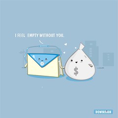 Empty Without You (DOWNSIGN) Tags: woman man money art love illustration buildings design symbol lol bank relationship doodle dollar definition button safe bags sack visual vector currency meaning pun wordplay playonwords punny downsign samomo
