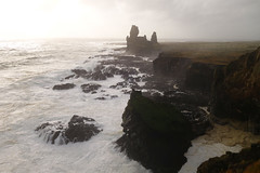 Londrangar Basalt Cliffs (Cagsawa) Tags: londrangar basaltcliffs londrangarbasaltcliffs snaefellsnes snaefellsnespeninsula iceland rx100 seastack seaside shoreline shore cliff rock ocean sea water westiceland basalt