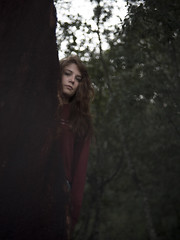 Chiara #5 (edgardomaxia) Tags: people beautiful beauty wood autumn portrait girl cute pretty eyes red green hair bokeh 50mm