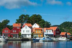 On the way to Lindness Fyr (SLpixeLS) Tags: norway norvège route460 village fjord house maison boat bateau colorful coloré