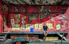 Oh what a circus, oh what a show! (Dale Michelsohn) Tags: portugal circus art loading street self selfie theatre stage set wall graffiti dalemichelsohn canon g5x