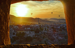 (marozn) Tags: amazing beautiful sunset uchisar castle ancient nevsehir cappadocia turkey above sunrise goreme high horizontal landscape national outdoors outside panorama panoramic park unesco valley view world sun town houses cave anatolia architecture asia ballons fly ballooning balloon flight hot kapadokya air city mountains rock frame