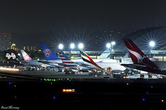 LAX Night Shot (birrlad) Tags: lax losangeles international airport california usa night photography aircraft aviation airplane airplanes airline airliner airlines airways taxi taxiway terminal stand ramp apron airbus boeing