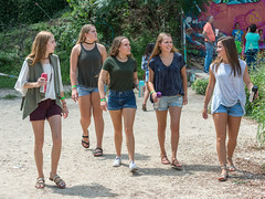 Five Girls in Shorts (Ron Scubadiver's Wild Life) Tags: girl woman candid street style nikon 24120 austin texas graffiti park castle hills sandals sneakers denim