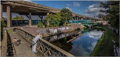 Don't take it lying down! (Terry 47401) Tags: train railway canal motorway arriva class158 birmingham wolverhampton