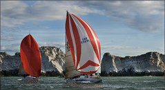Grand Slam passing the Needles (rogermccallum) Tags: sail sailing boat boats spinnakers needles roundtheisland sea solent