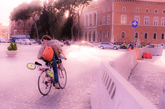"""Shoulder Check """"sliders sunday"""" (Harry2010) Tags: sliderssunday bicycle rome roma road cobblestones trafficcircle sign rider"""
