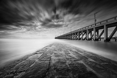 Drifting (BW Photography by CS) Tags: sea pier drifting clouds