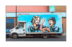 Street Art (Seor.X), North London, England. (Joseph O'Malley64) Tags: senorx srx streetart urbanart graffiti northlondon london england uk britain british greatbritain van vanart deliveryvan formercinemabingohall brickwork bricksmortar pointing signage signs lamppost concrete granitekerbing tarmac fallenleaves parkingbays parkingrestrictions selfharming urban urbanlandscape stencil stencilwork freehand cans spray paint aerosol mural muralist