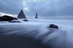Receding Tide (3dgor ) Tags: iceland beach kirkjufjarabeach water sea tide seashore sand black landscape
