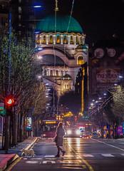 Belgrade by night (Vagelis Pikoulas) Tags: beograd beograde belgrade serbia march spring 2016 street night canon 6d tamron 70200mm vc church savva woman dog lights balkans europe