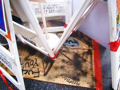 """Hollywood Trump Rally - """"Coverup"""" of Walk of Fame Star Smashed by Vandal (ramalama_22) Tags: la losangeles boulevard walkoffame defaced vandalized star rainy sunday donald trump presidential candidate rally politics political hollywood department public works street services 2016 election hillary clinton highland avenue michael jackson memorial plywood duct tape safety cone"""